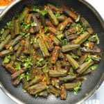 Stuffed okra in a frying pan