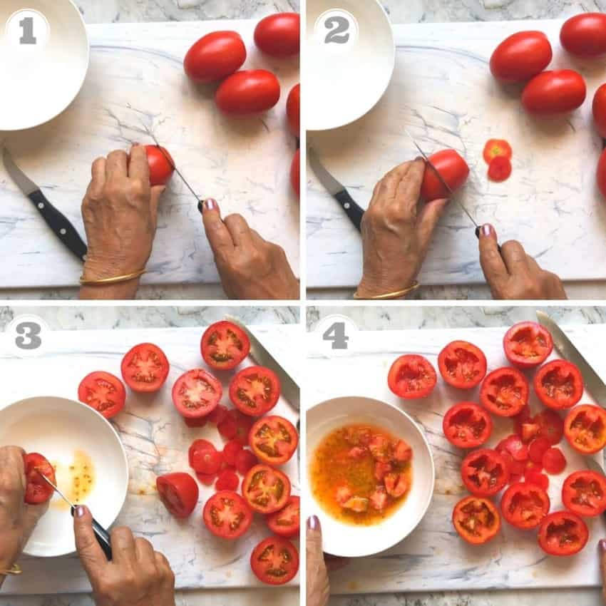 steps showing how to prep tomatoes
