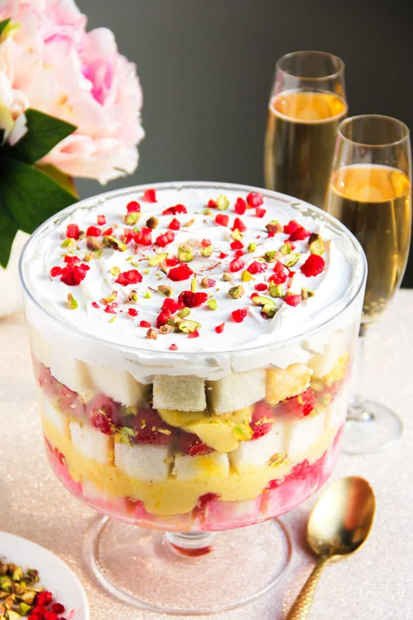 Cardamom saffron Trifle with raspberries & pistachios