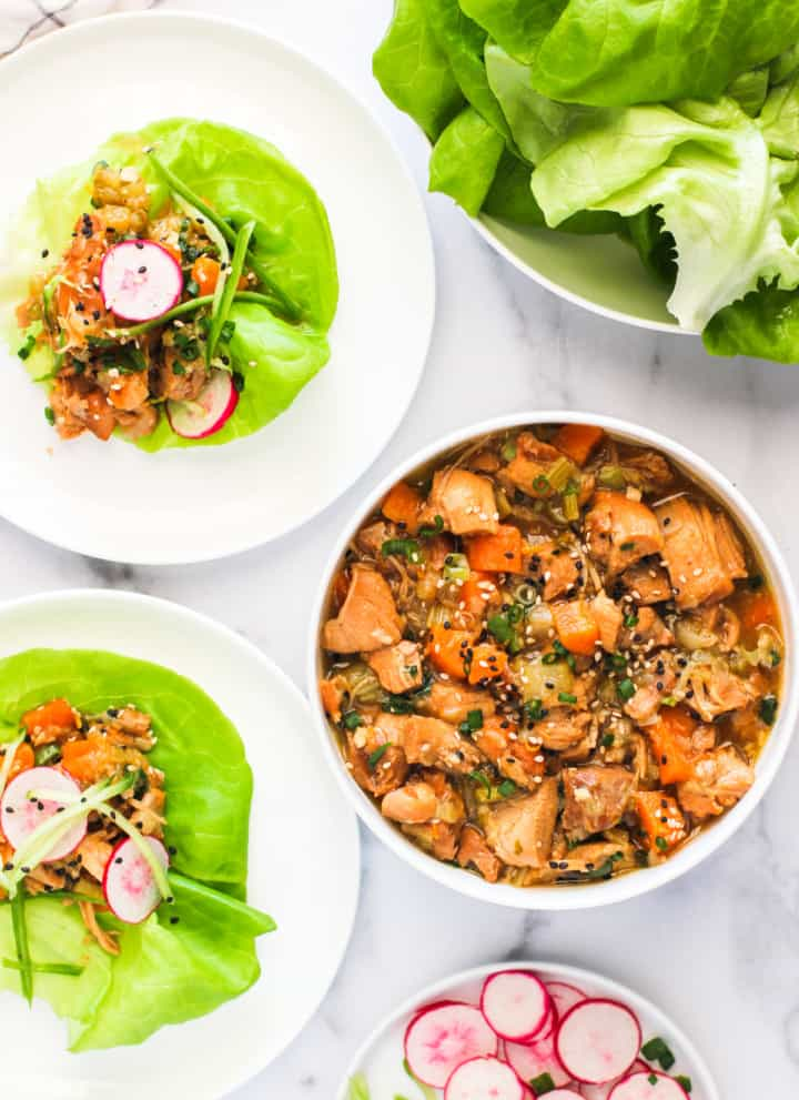sweet and tangy asian chicken lettuce wraps