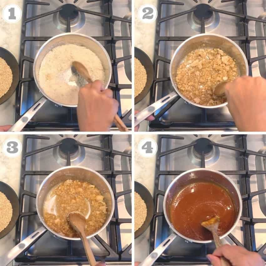 Steps one through four of making sugar syrup