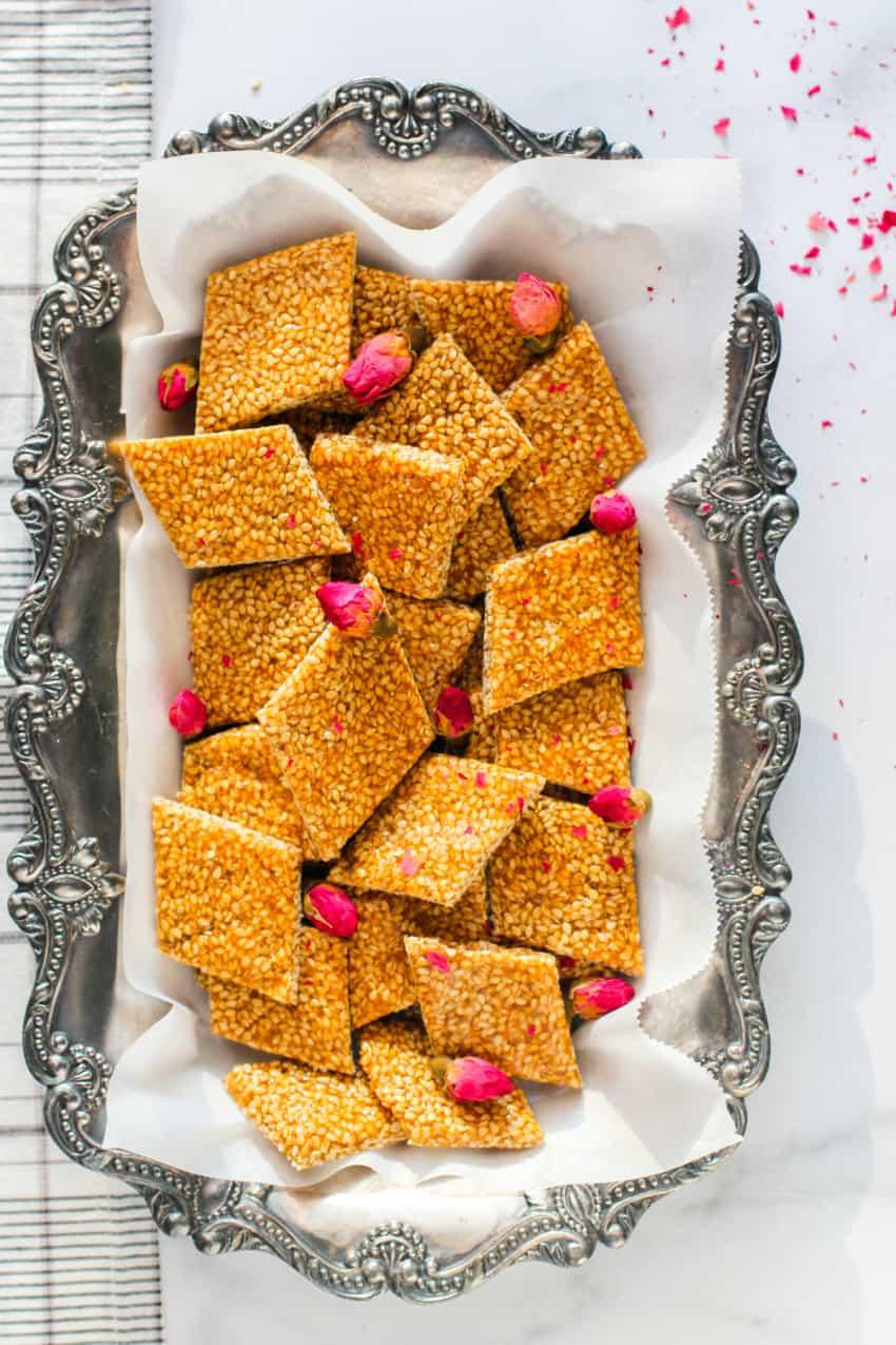 sesame crisps in a silver tray