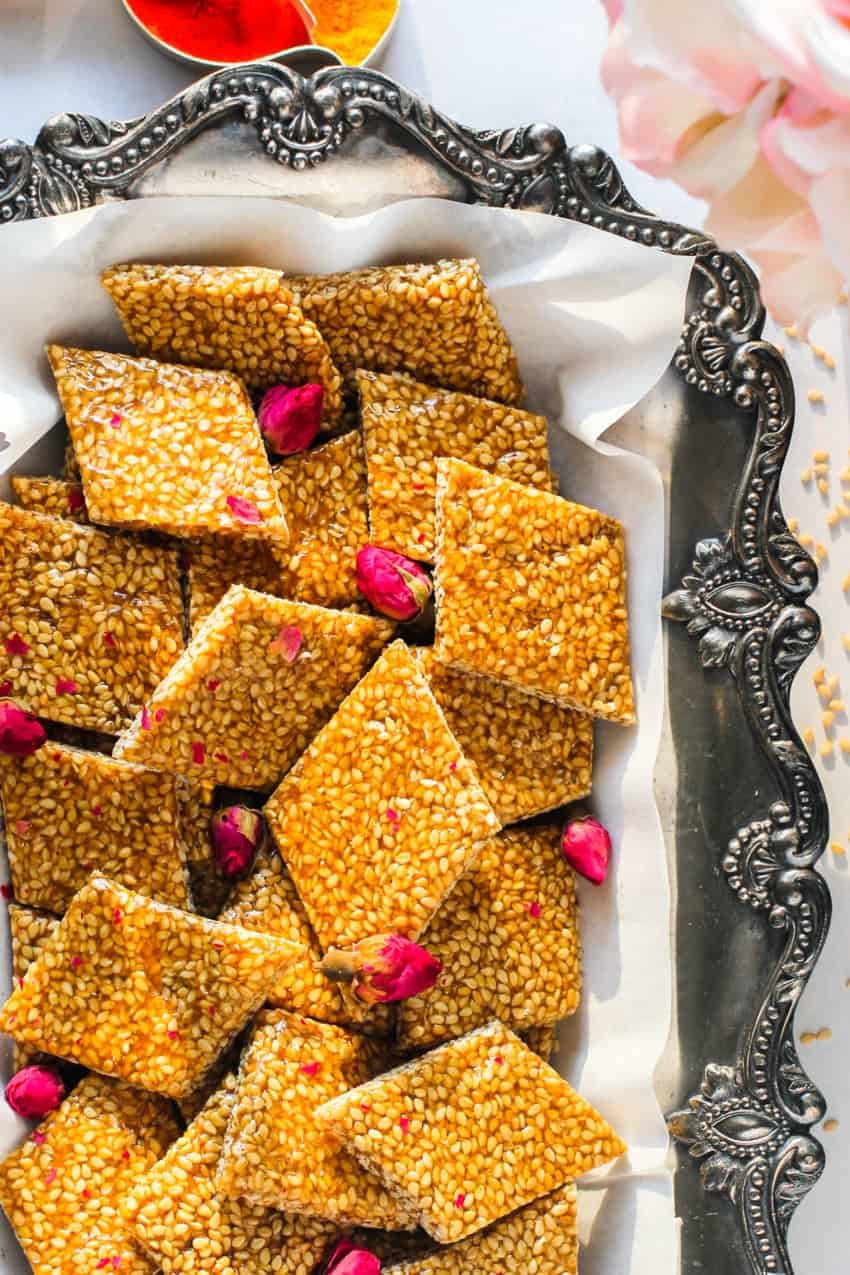 sesame chikki in a silver tray