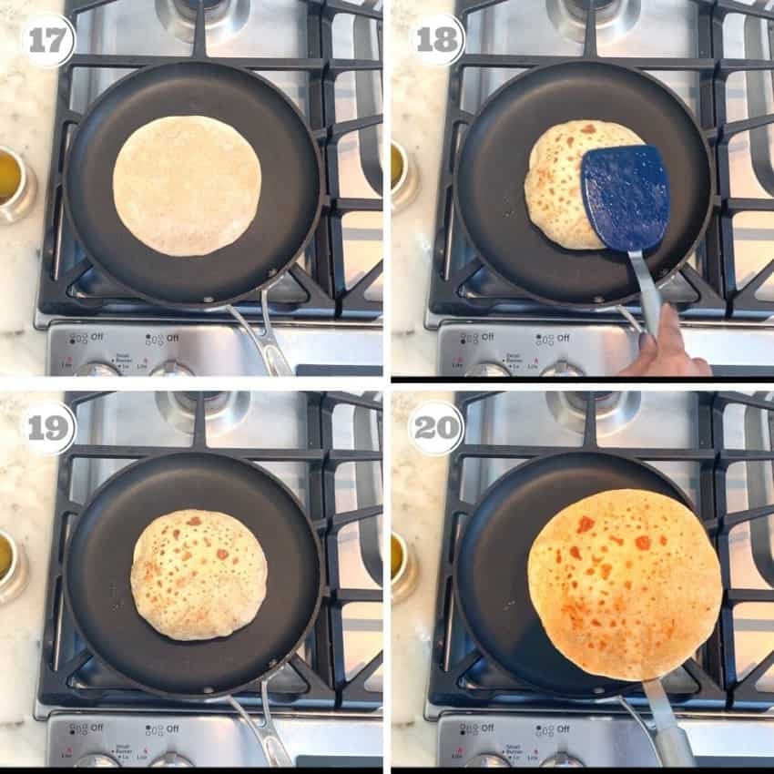 steps showing how to cook the poli on a pan
