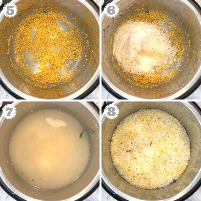 process of making veg pongal in Instant Pot
