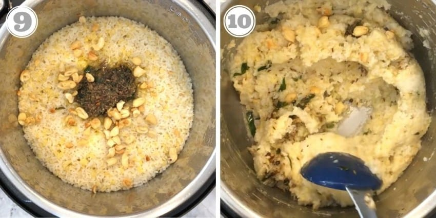 cooked ven pongal topped with nuts and tempering in the Instant pot