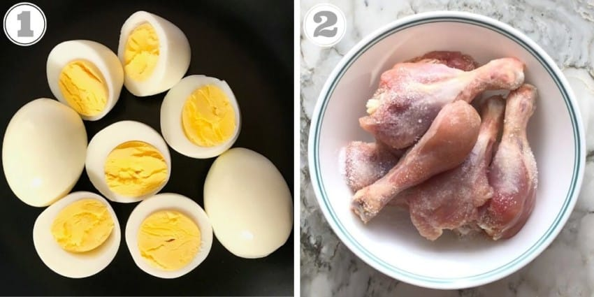 Boiled eggs and chicken marinating with lemon and salt