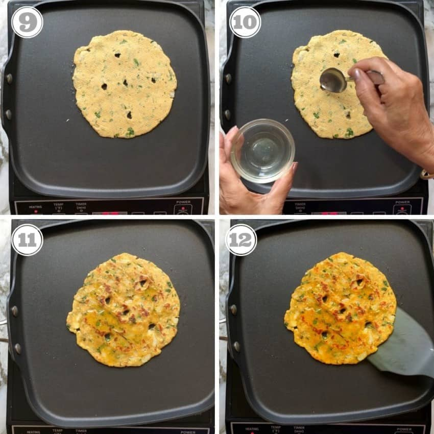 process hots showing how to cook rolled thalipeeth on hot pan