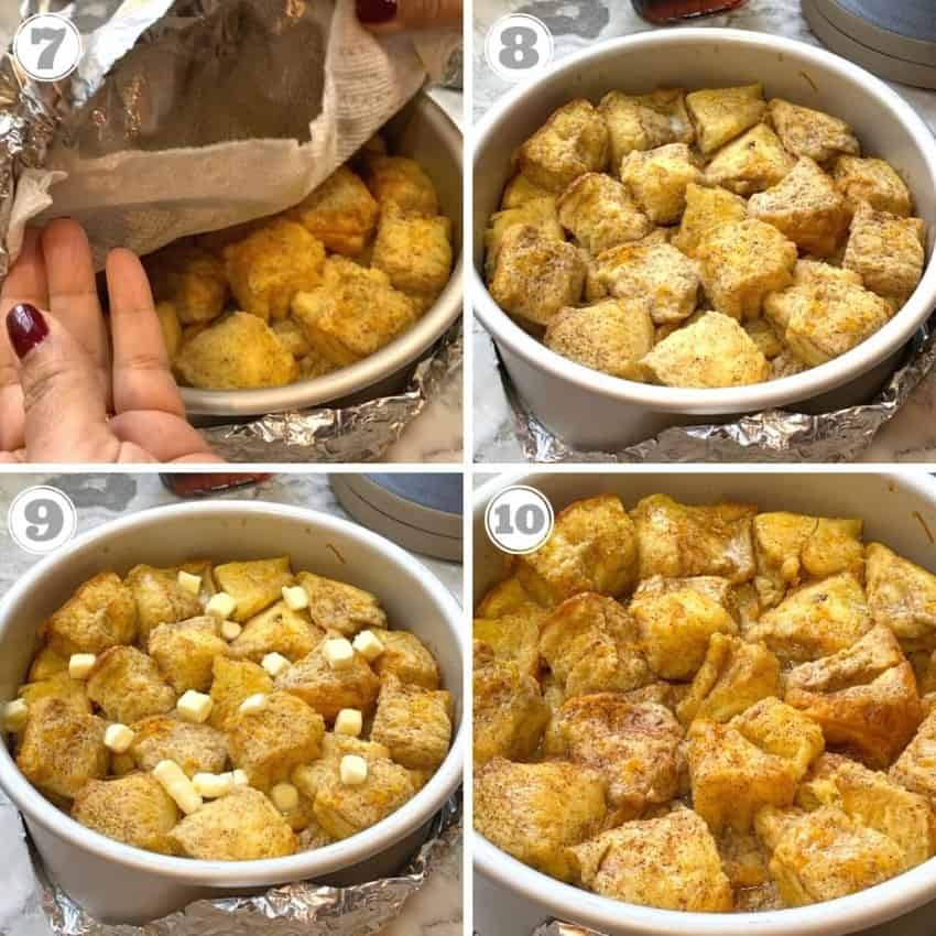 steps seven through 10 of making bread pudding