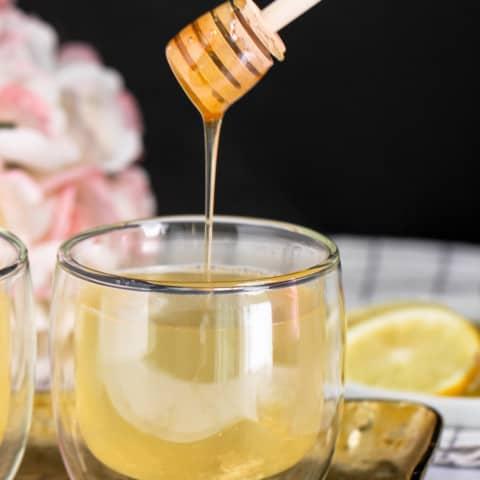 lemon ginger tea served with honey