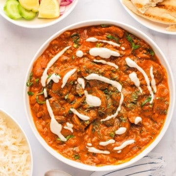 mushroom masala served with rice & naan