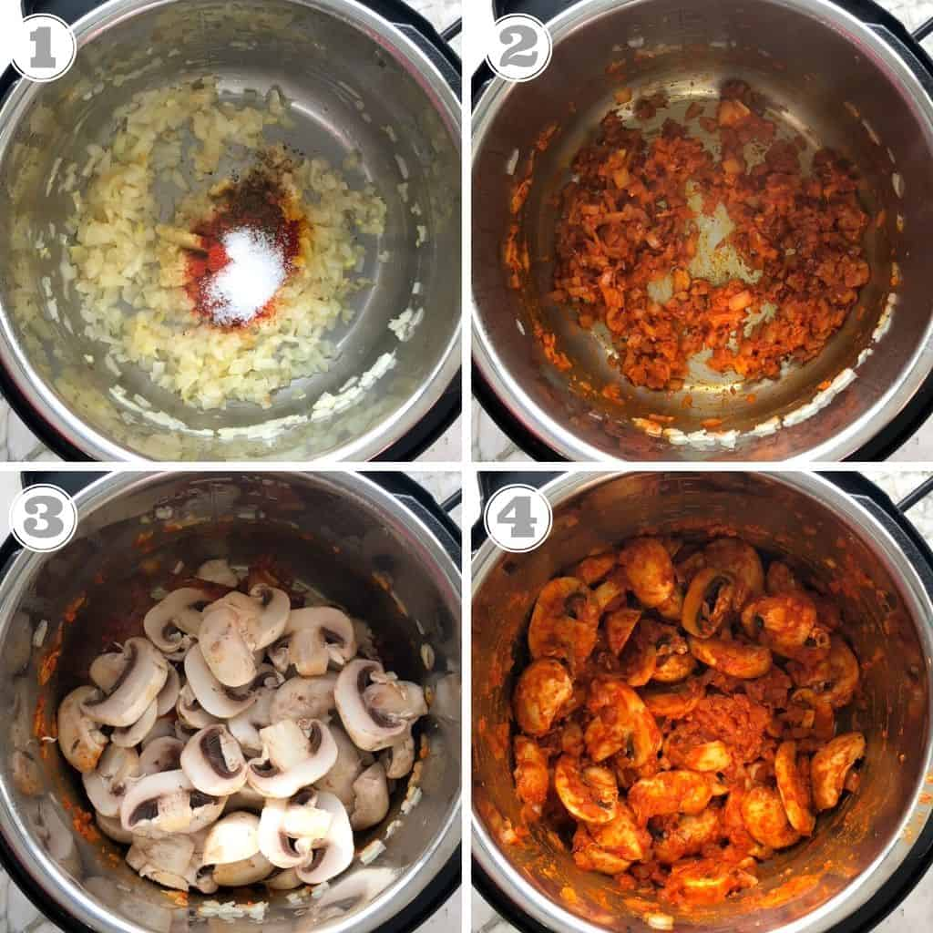 steps showing how to make mushroom curry in the Instant Pot