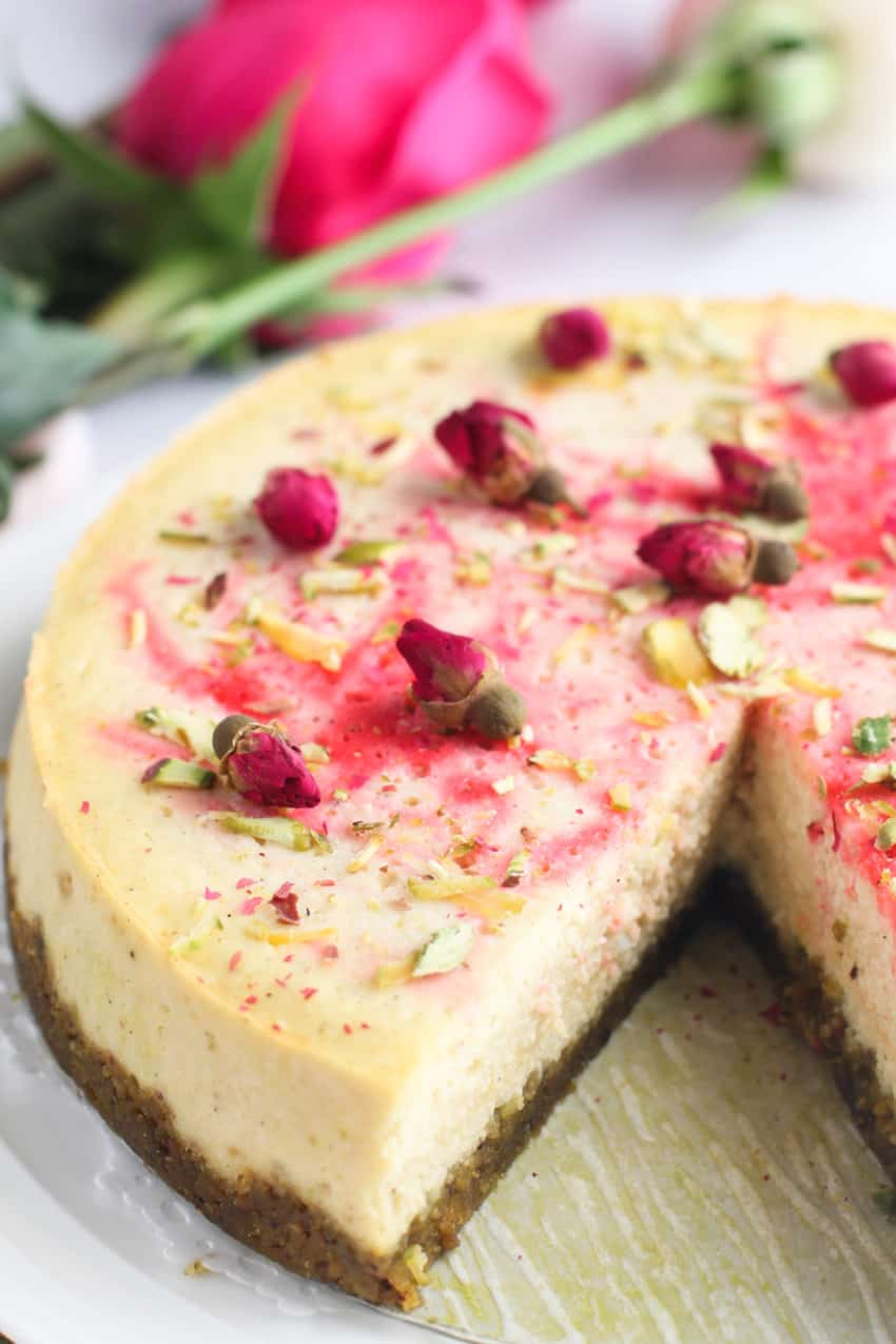 Ricotta Cheesecake with rose, cardamom and pistachios