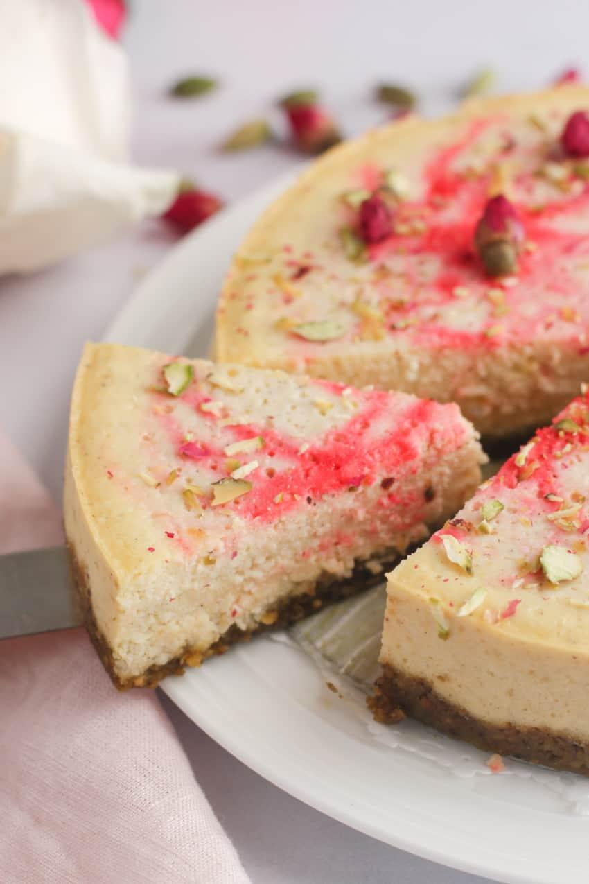 slice of rose ricotta cheesecake