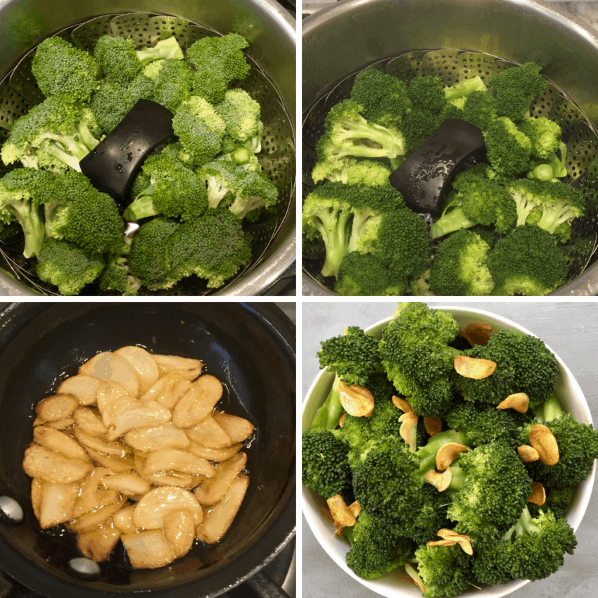 Steps showing how to steam broccoli  in the Instant Pot
