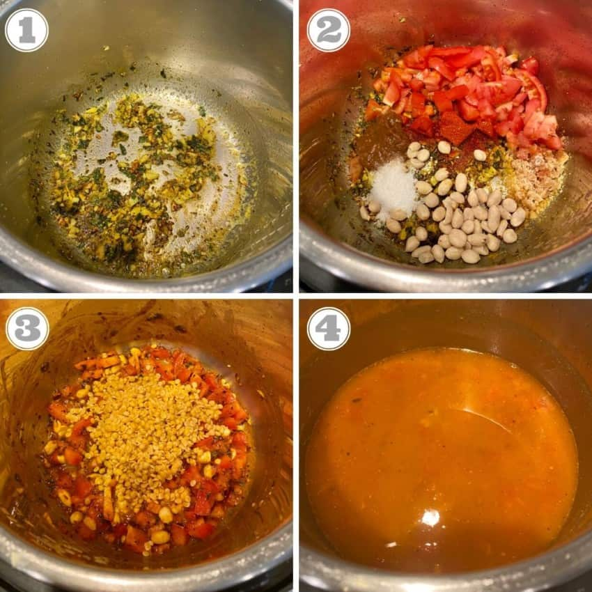 steps showing how to make dal dhokli