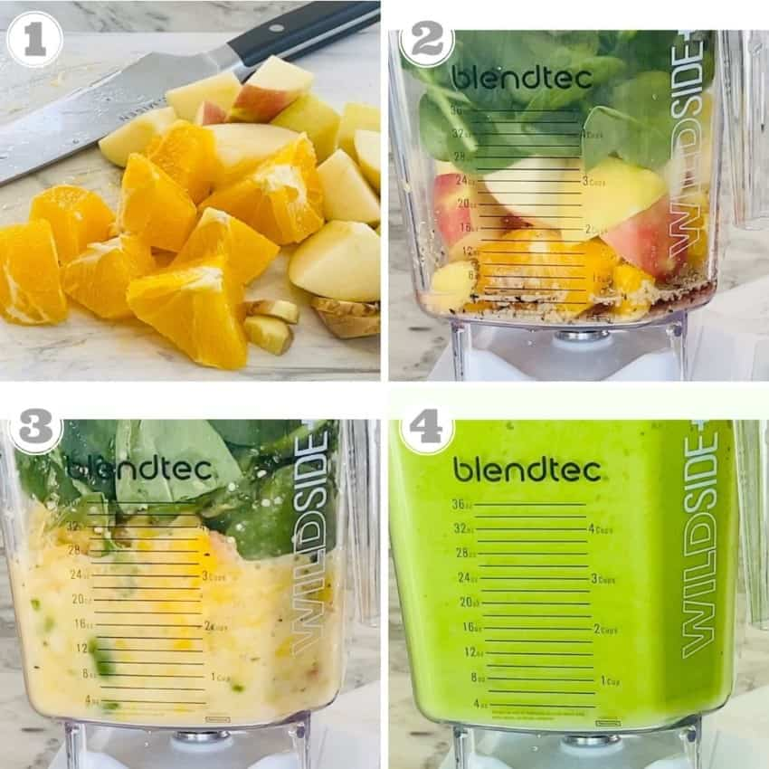 steps one through four of making green smoothie