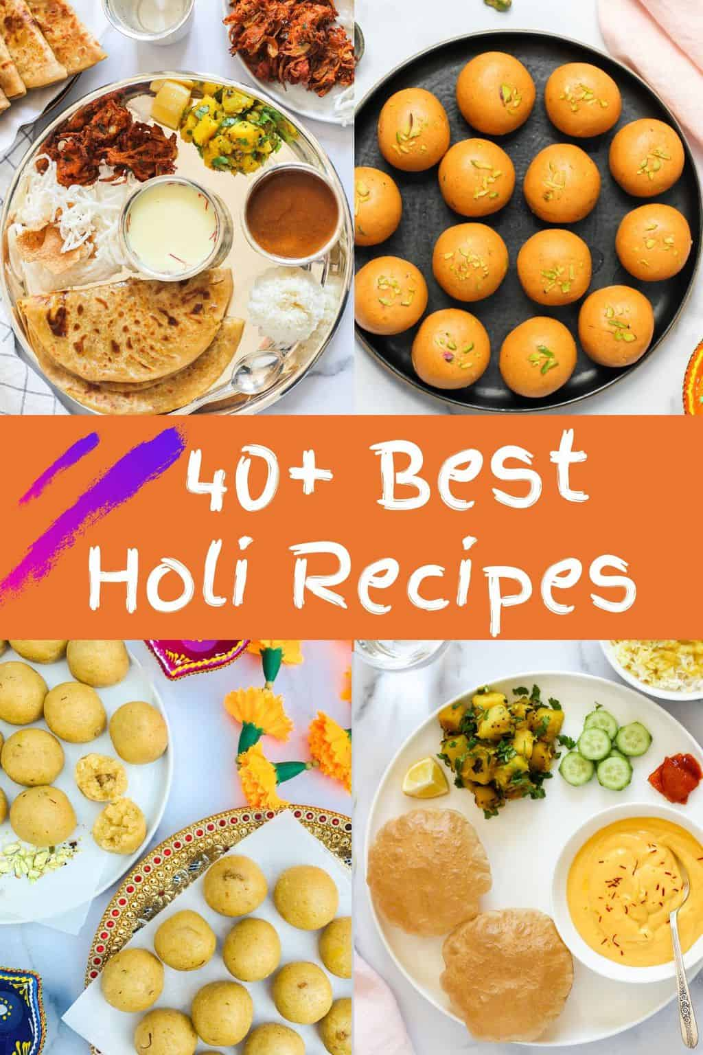 collage showing holi recipes