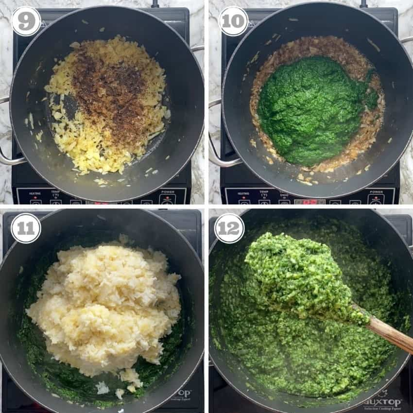 steps showing mixing spices, spinach puree and khichdi in a pot