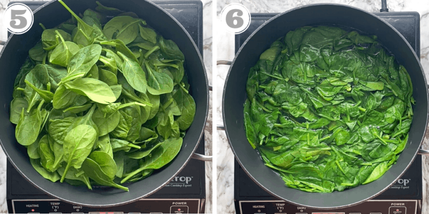 steps showing how to blanch spinach