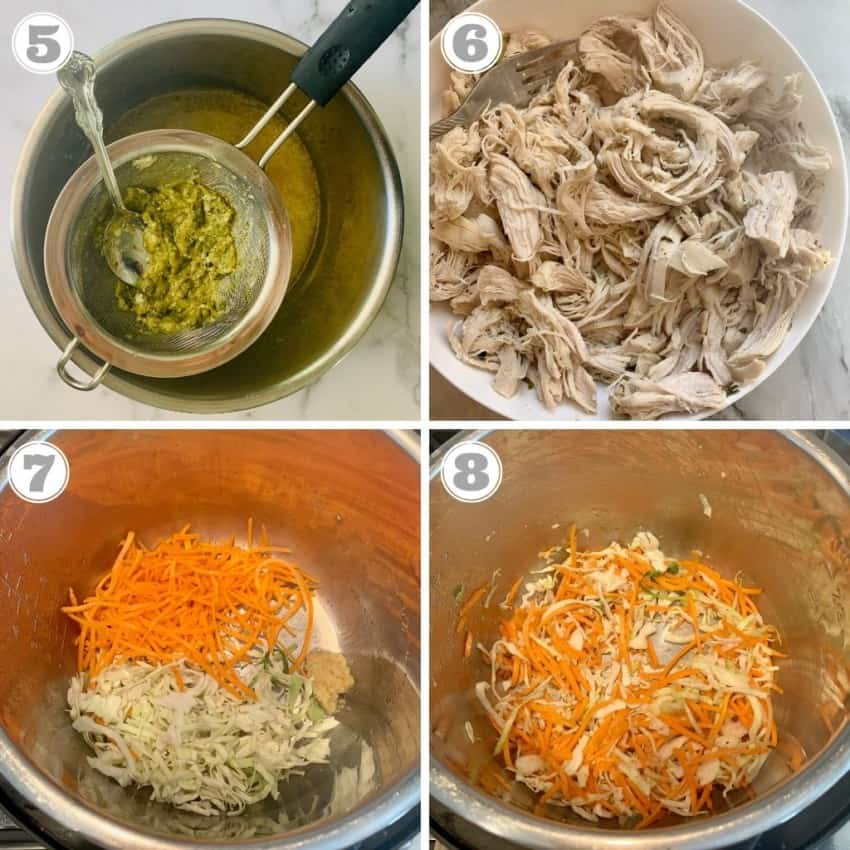 steps five through eight of making chicken cilantro soup