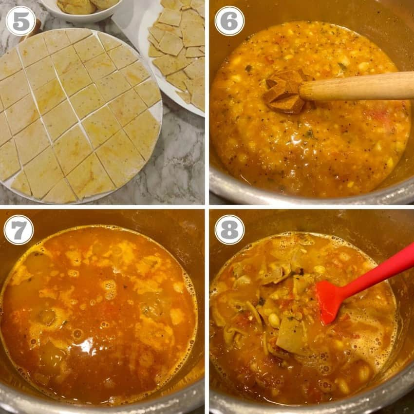 steps showing how to make dal dhokli in the Instant Pot