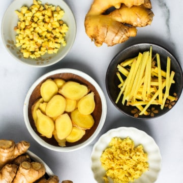 Fresh Ginger - sliced, diced and grated in bowls