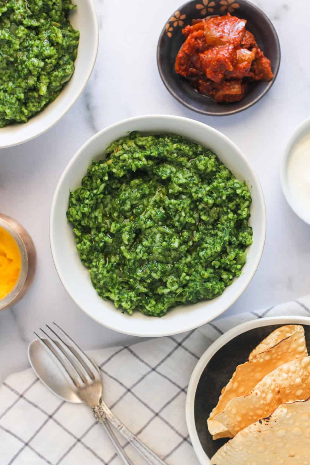 Palak Khichdi served with pickle and papad