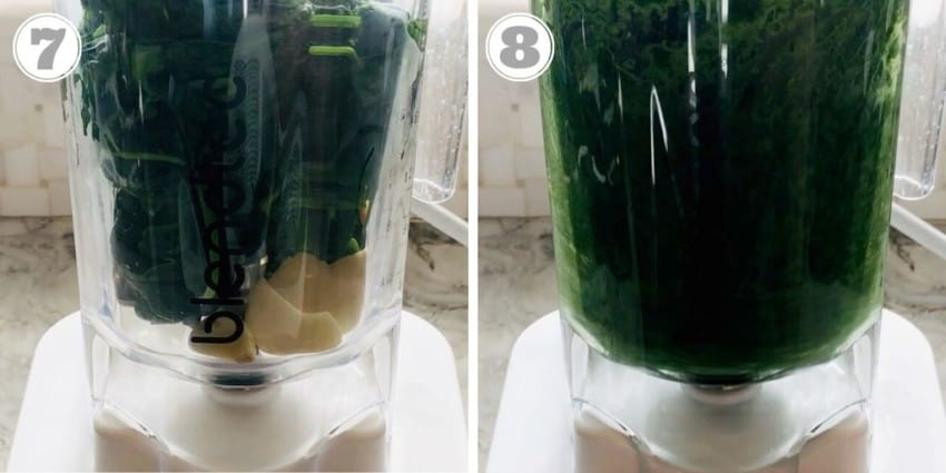 pureeing spinach in the blender