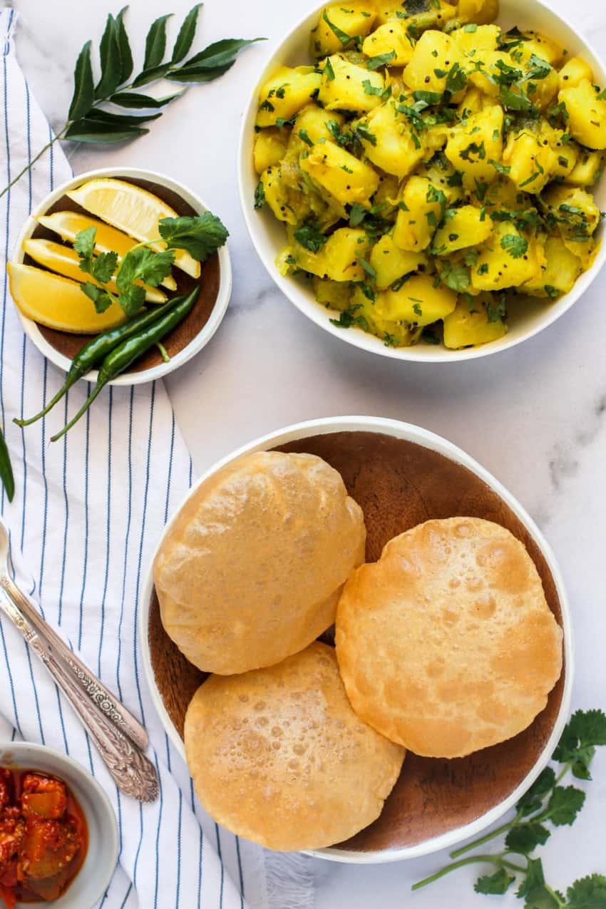 Puri served with batata bhaji