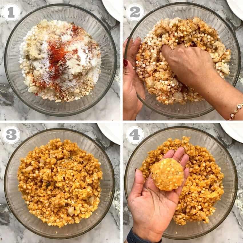 steps one through four showing how to make the dough for sabudana vada