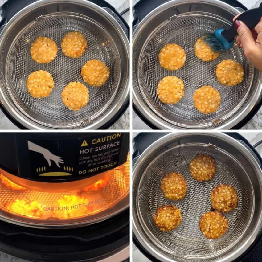 steps showing how to air fry sabudana vada