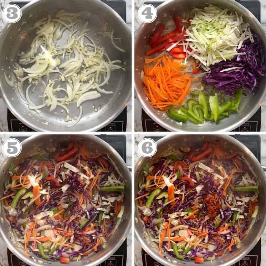stir frying veggies