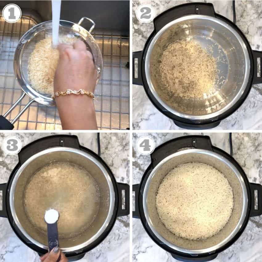 steps showing how to make Instant Pot Basmati rice