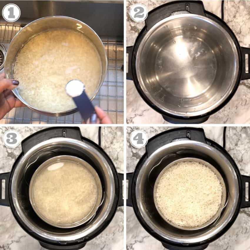 steps showing how to make pot in pot Instant Pot Basmati rice