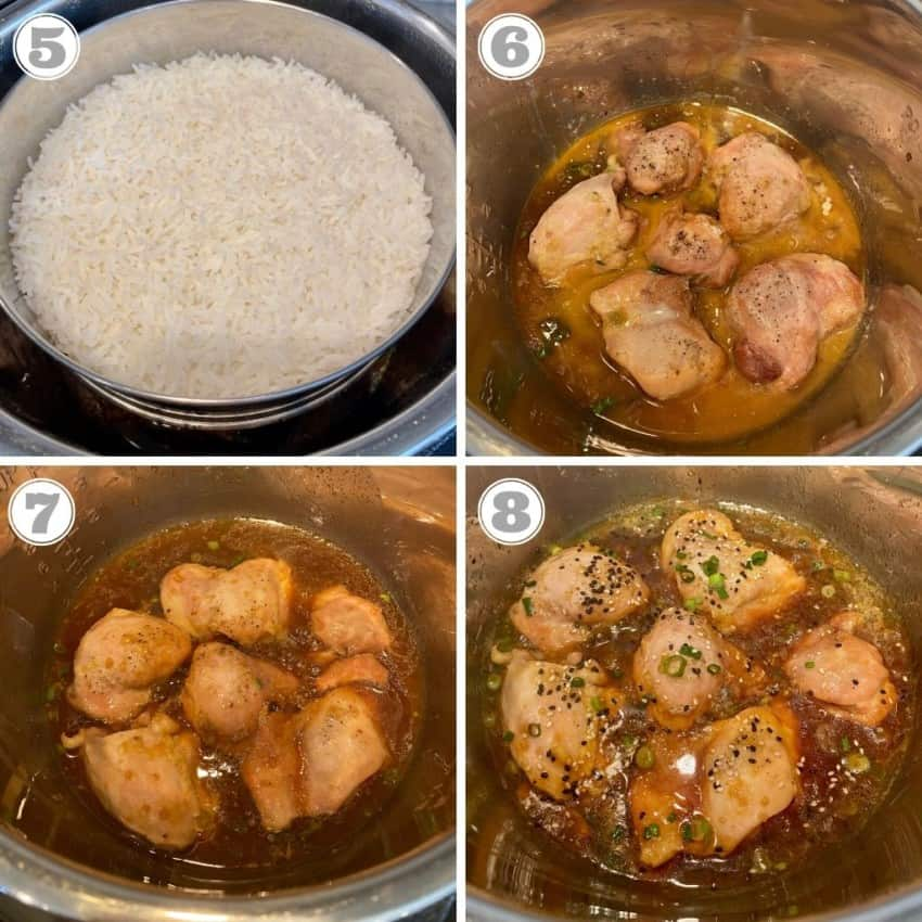 Photos showing chicken cooked in Instant Pot