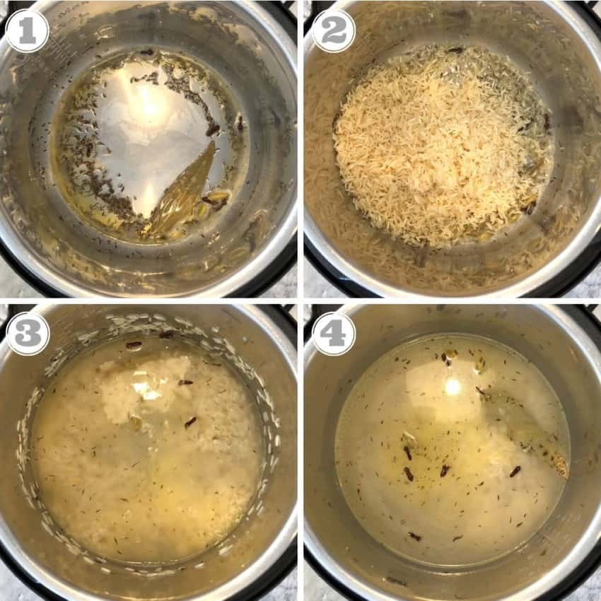 steps one through four of making Instant Pot jeera rice