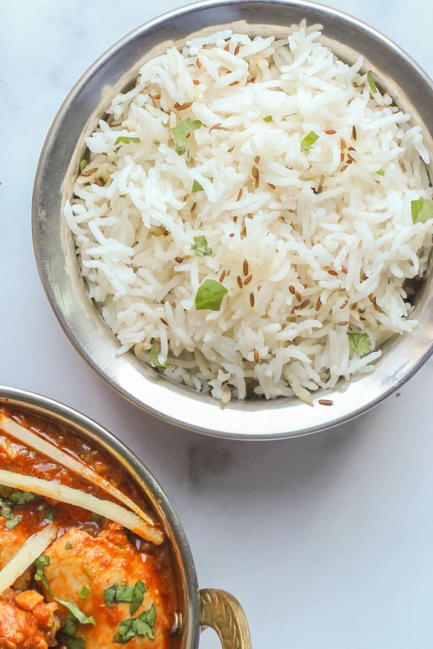 jeera rice in a bowl