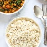 cumin rice served with chana saag