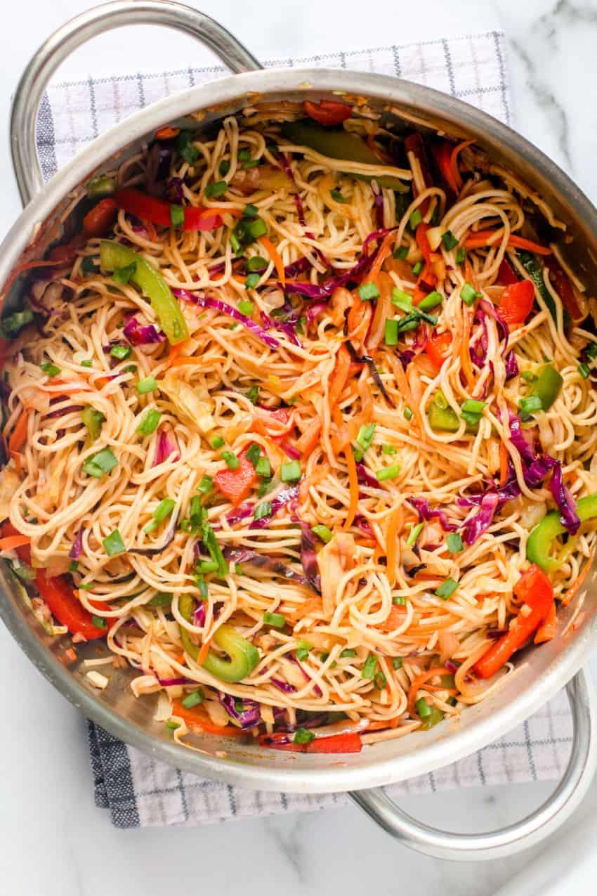 Large pan with vegetable hakka noodles
