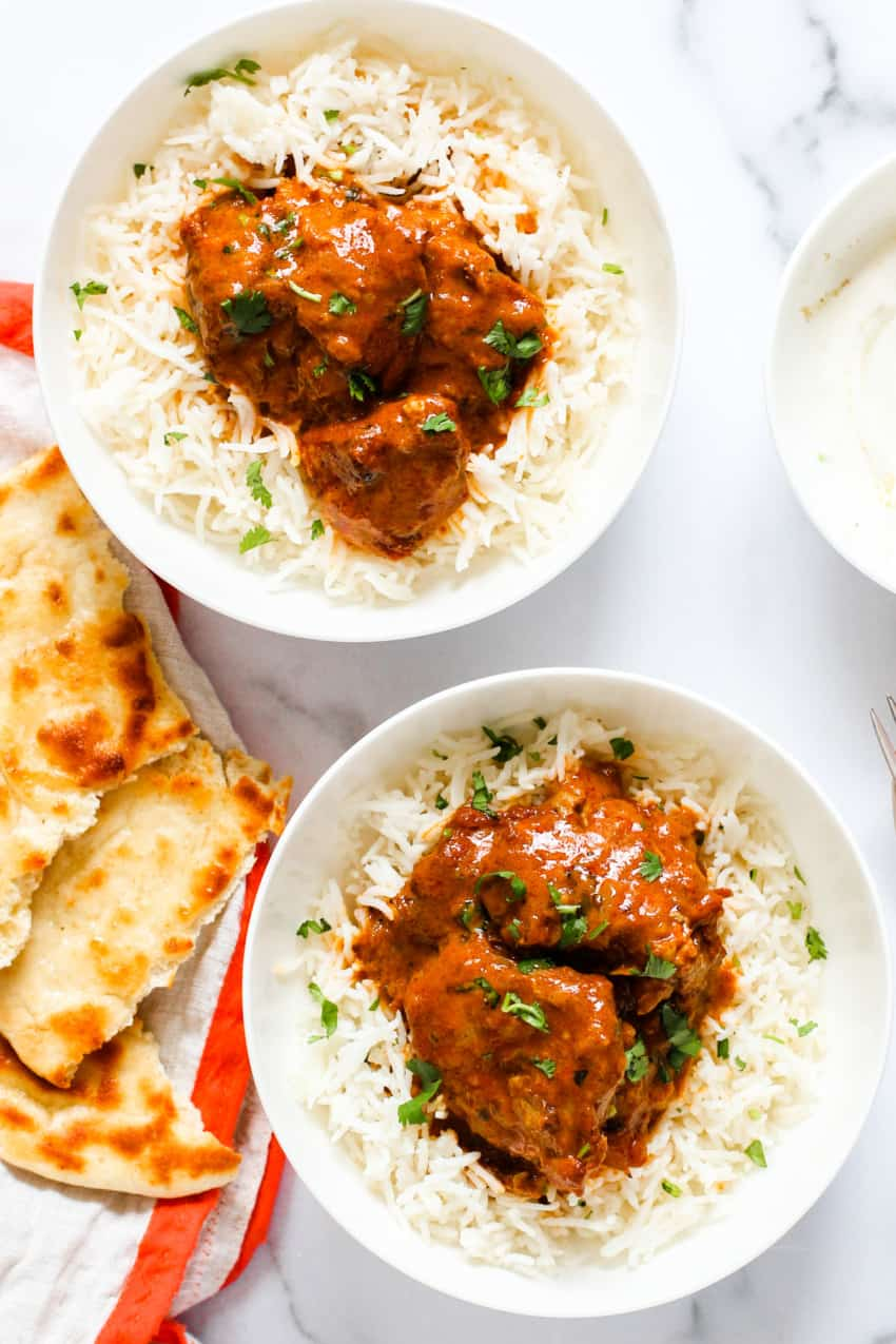 Murgh Makhani served with rice and naan