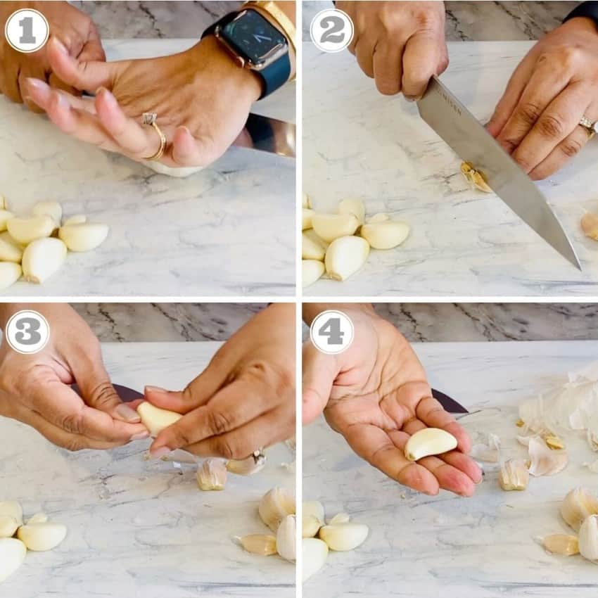 photos showing how to peel garlic