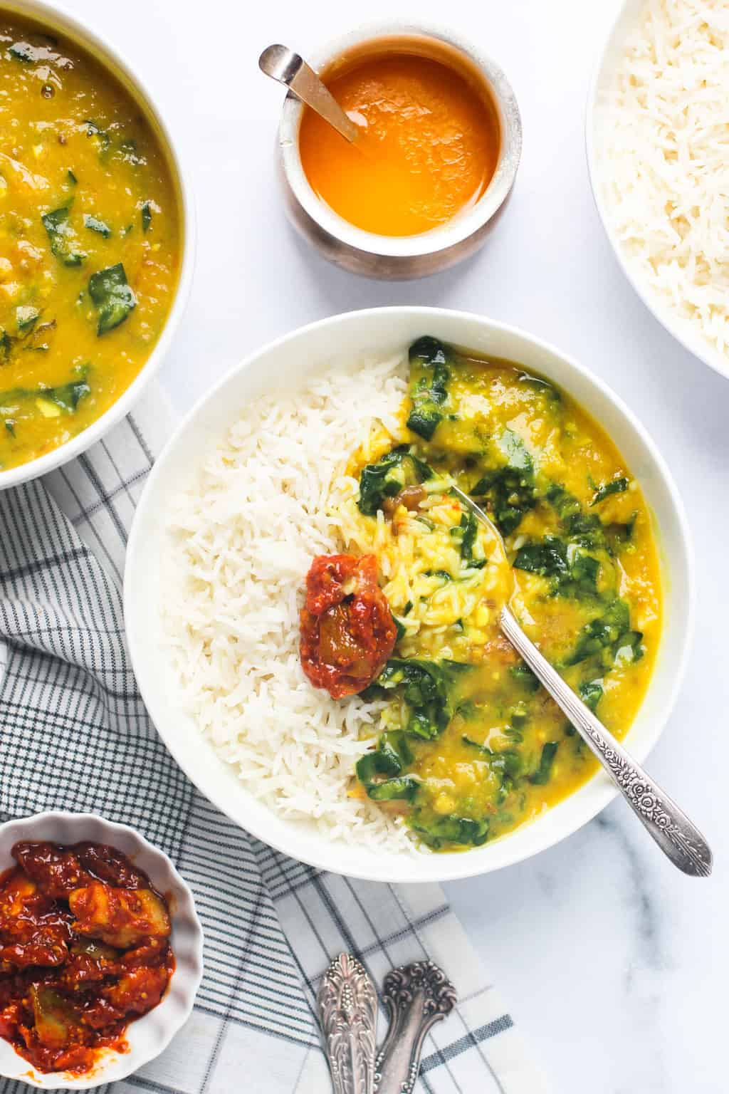 Spinach Dal served with rice and pickle