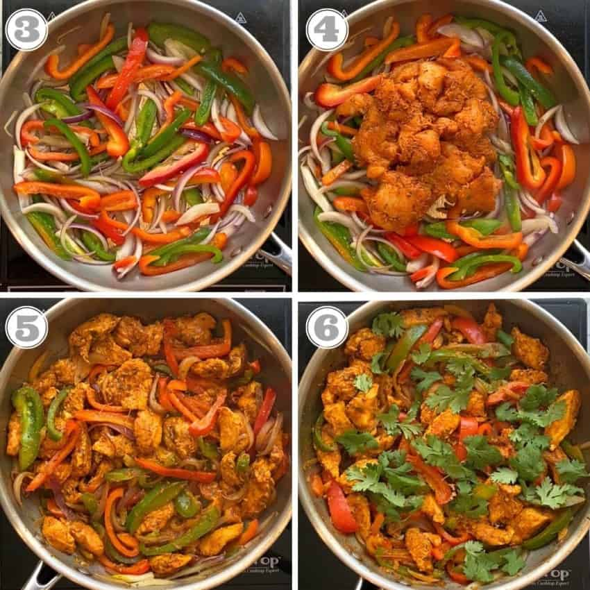 photos show how to make chicken kati roll filling