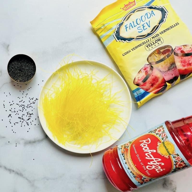 Ingredients to make faluda
