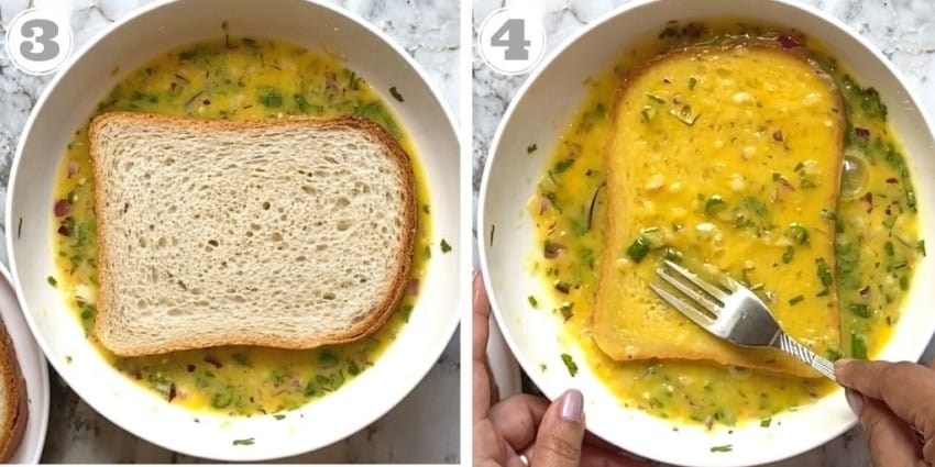 dipping sliced bread in egg mixture