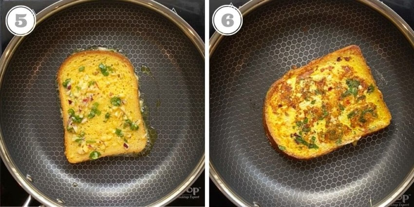 cooking savory french toast in a pan