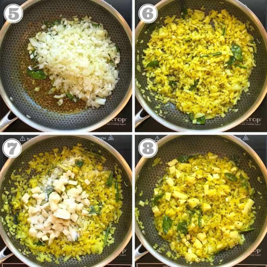 sautéing onions & potatoes