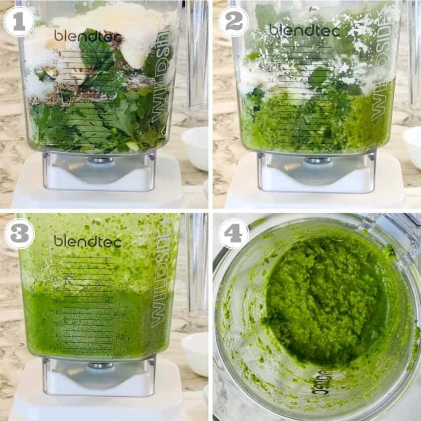 process shots showing how to make cilantro chutney