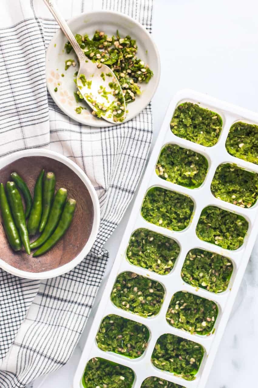 Green Chili paste in silicone tray